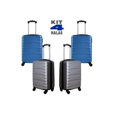 """Kit c/ 4 Malas de Bordo c/ 4 Rodinhas 360º (Regulamentação ANAC) Stile 18"""" - 2 Cinzas e 2 Azul"""