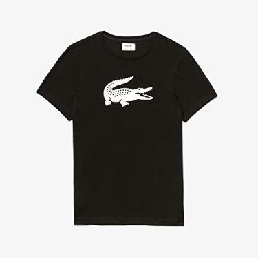 Camiseta Básica, Lacoste, Masculino, Preto/Branco, P