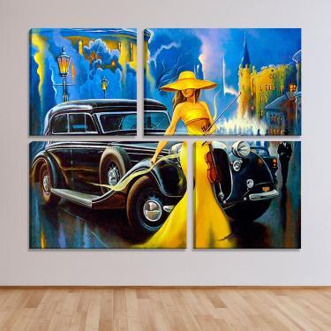 Conjunto de 4 Telas Decorativas Estilo Pintura Glamour Carro Mafia Retrô - Montada: 82X102cm (A-L) Unico