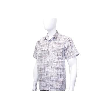 Camisa Social Masculina Floral Estampada Manga Curta Fit