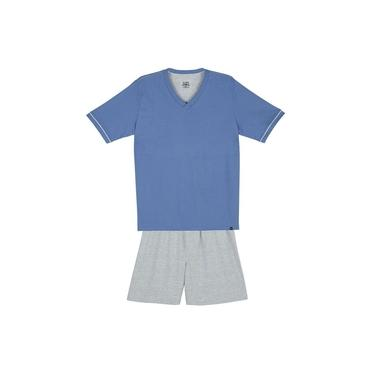 Pijama Masculino Lupo Curto Comfort Algodão Gola V Azul Claro