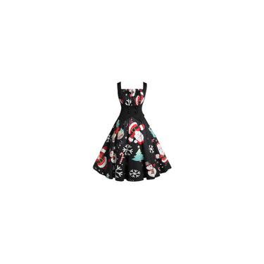 Vestido de formatura feminino vintage sem mangas com estampa de natal para dona de casa à noite