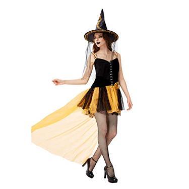 Imagem de MEIYIN Fantasia feminina de Halloween de bruxa para cosplay com tema de abóbora, vestido de tutu de malha com chapéu, Laranja, G