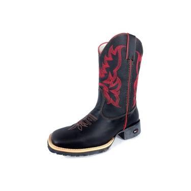 Bota Masculina Preta Cano Alto Mr.West Boots e Bico Vermelho