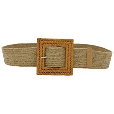 Cinto feminino skinny, cinto de tecido de palha, faixa de cintura larga elástica, Caqui, 96*5*0.5cm