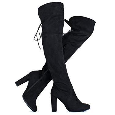 Imagem de Bota feminina de salto médio e cano alto acima do joelho – Bota de salto alto confortável com bico de amêndoa, Black Suede, 5.5
