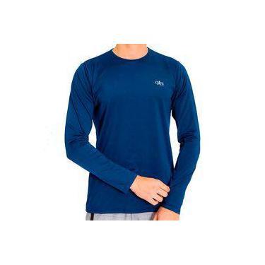 Camiseta Proteção Solar Uv Dry Manga Longa Masculina Azul Marinho c7285863c755e