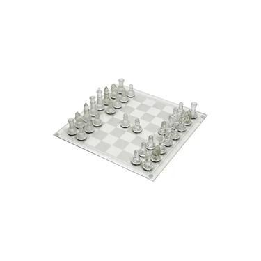 Jogo De Xadrez Tabuleiro Vidro Transparente 25x25 Com 32 Peças