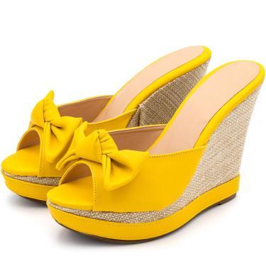 Sandália Tamanco Laço Flor da Pele Anabela Salto Alto Amarelo  feminino