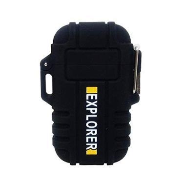 Isqueiro Eletrônico Plasma Explorer Resistente a Água c/Cabo USB (Preto)