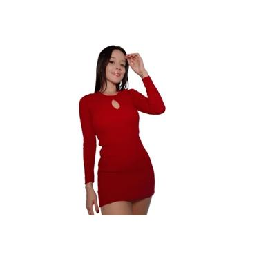 Vestido Feminino Midi Curto Justo Tricot Liso Vermelho