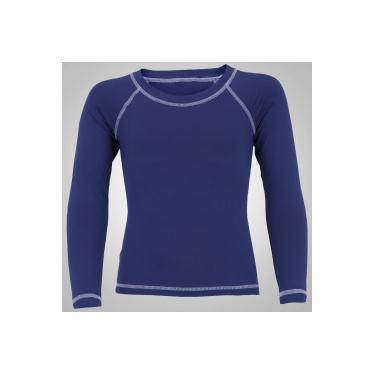 269b5e610d63d Camiseta Manga Longa com Proteção Solar UV50 Oxer - Infantil - AZUL ESCURO  Oxer