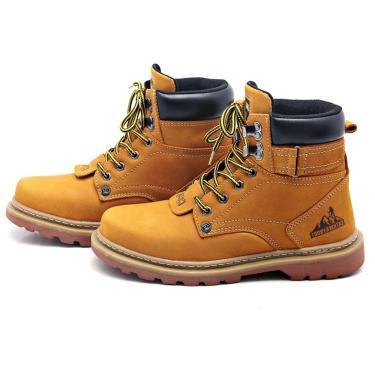 Bota Cathway Boot Coturno Couro Cano Médio Amarelo  masculino