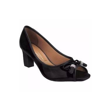 Peep toe feminino vizzano verniz cristal brilho - preto