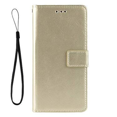 Capa flip para Asus Zenfone 4 Selfie ZD553KL com compartimentos para cartão de proteção de couro PU (Dourado)