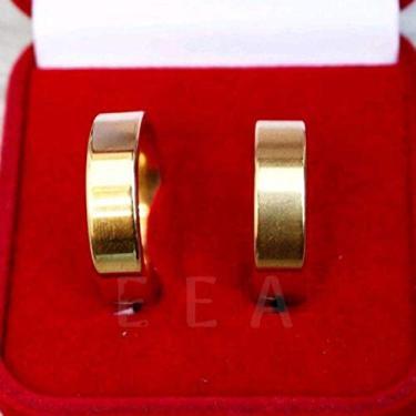 Imagem de Par de Aliança compromisso namoro Noivado Casamento 6mm zircônia Banhada ouro 18k (18)