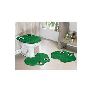 Imagem de Kit Tapetes De Banheiro Sapinho Antiderrapante 3 Peças - Verde Bandeira