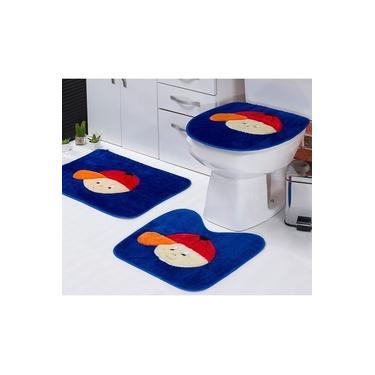 Imagem de Jogo de Tapetes Infantil Banheiro Menino Azul Royal Padrão 3 Peças