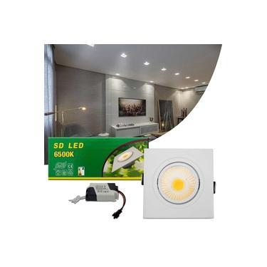 Luminária Teto Spot LED COB 7W Quadrada Direcionável Branca Bivolt Alumínio Embutir Gesso Sanca