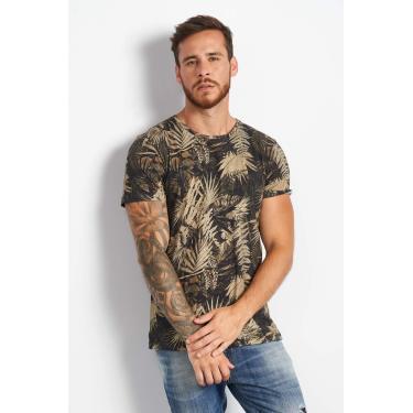Camiseta de Linho Estampada Colcci, Masculino, Preto/Bege/Verde/Rosa/Cinza, GG