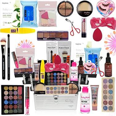 Imagem de Maleta De Maquiagem Completa Com Kit Maquiagem Ruby Rose Top Base Clara