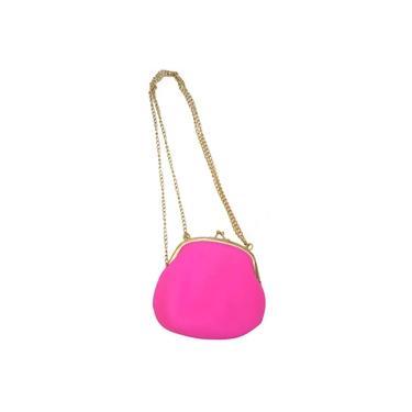 Bolsa De Silicone Vintage Rosa Com Dourado Tiracolo (BL-2662-6)