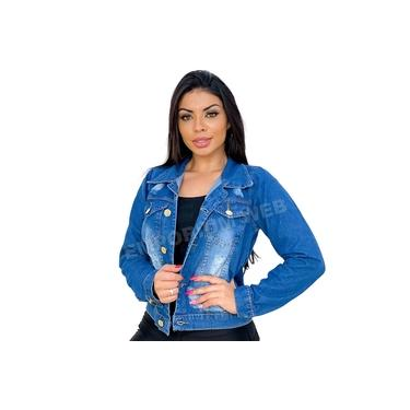 Jaqueta Jeans Feminina Curta Destroyed - EWF Jeans - Azul Escuro