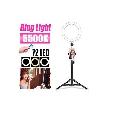 72 LED Ring Light com suporte Tripé Suporte de telefone celular e controle remoto, 3 cores Lâmpada regulável USB Powered, para Selfie, Youtube Video, Live Streaming, Maquiagem