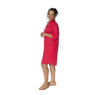 Imagem de Vestido chemise tecido trabalhado dourado cereja Tamanho:M