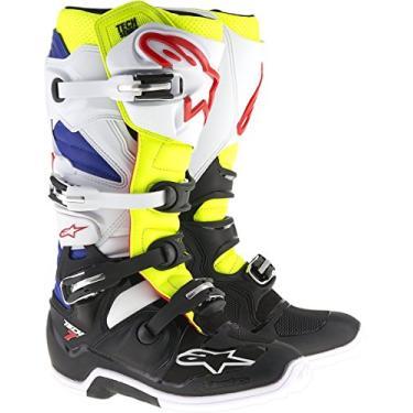 Bota Alpinestars Tech 7 Branca/amarela/azul Tam 9Us/40-41Bra