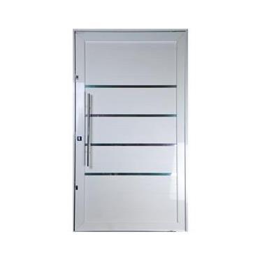 Porta Pivotante de Alumínio Lambril Cor Branco 2,10 X 0,90 Com Frisos Puxador e Kit Fechadura Direita