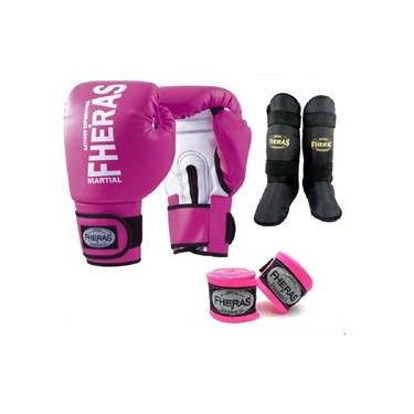 Kit Boxe Muay Thai Fheras New Orion Luva+Band+Caneleira Free Rosa 011