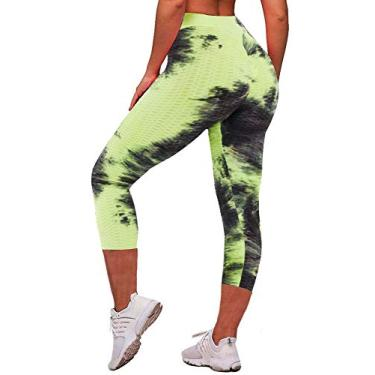 Calça legging feminina de corrida com colmeia de mel e cintura alta para ioga Memoryee, Capris Green + Black, Large