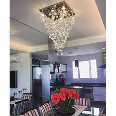 Lustre De Cristal para sala, base de inox polido 42X42cm, altura 80cm com esferas de 30mm