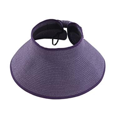 Romacci Chapéu de praia feminino de aba larga com viseira de sol UV FPS 50+, Roxa, tamanho �nico