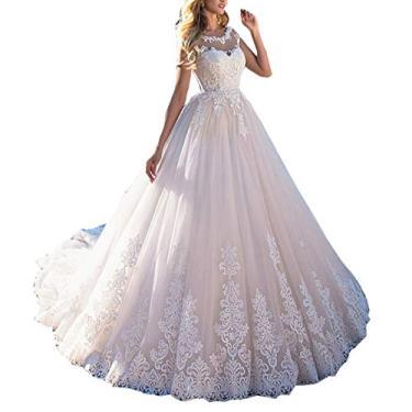Imagem de Solandia Vestido de noiva com laço e ilusão de cauda Vestidos de casamento para noivas Plus Size, Branco, 16 Plus