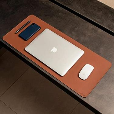 Imagem de Mouse Pad Desk Pad Max L Couro Ecologico 70x30cm Design Minimalista (Caramelo)