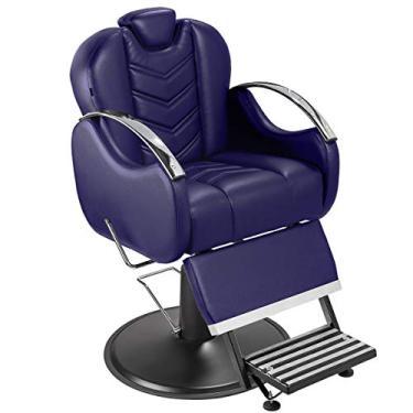 Cadeira de Barbeiro Alfa com Encosto e Apoio de Pé Reclináveis - Pé Preto - Azul Escuro