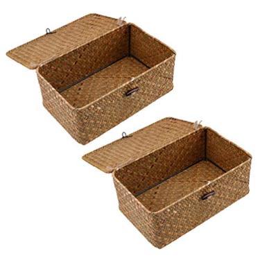 Imagem de HEMOTON 2Pcs Seagrass Cestas De Armazenamento Com Tampas de Caixas De Armazenamento De Vime Cestas de Vime Retangular Tecido Cesto de Roupa Suja Cesta de Piquenique de Madeira Recipiente