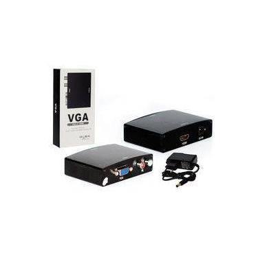 Adaptador Conversor Vga Para Hdmi Com Audio Rca Preto Video Converter Generico