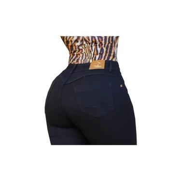 Calça Jeans Feminina Levanta Bumbum Cintura Alta Hot Pants Preta