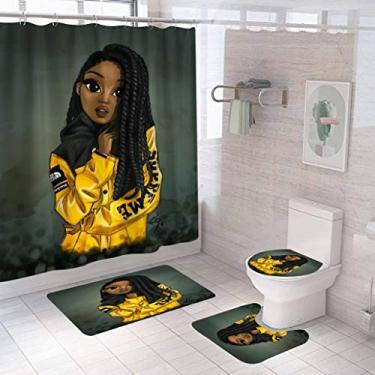 Imagem de kosaaop Conjunto de 4 peças de cortinas de chuveiro afro-americano para decoração de banheiro com tapete antiderrapante, tampa de vaso sanitário, tapete de banheiro e 12 ganchos, cortina de banheiro durável à prova d'água Black Girl