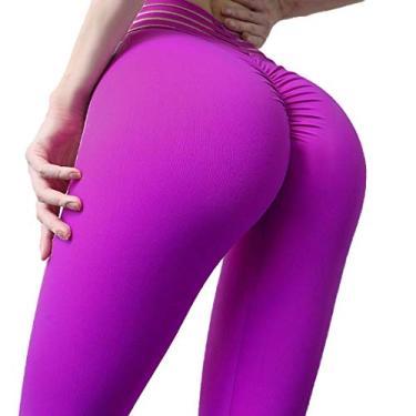 KLJR calça legging feminina para ioga ao ar livre, academia, treino, levantamento de nádegas, Roxa, Small