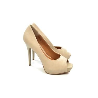 Sapato Peep Toe Fem 1000 Natural Cia Perfeita 19489