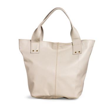 Imagem de Bolsa Sacola de Ombro Fepo Store Couro Alça Fixa Fecho em Imã Off White  feminino