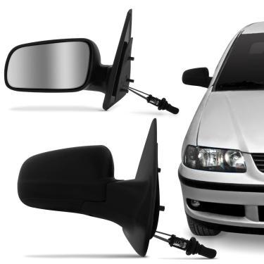 Imagem de Retrovisor Gol Parati G3 2000 a 2005 G4 2006 a 2014 Controle Interno Preto com Espelho 2 Portas Lado Esquerdo Motorista