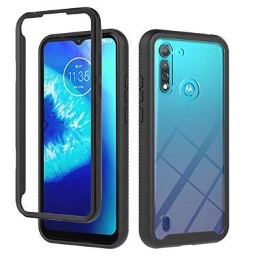 JZ Capa de celular transparente frontal e traseira de 360 graus compatível com Motorola Moto G8 Power Lite Capa bumper de corpo inteiro - Preta