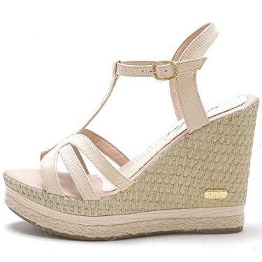 Sandália Plataforma Anabela feminina em Jeans/couro legitimo ref. 3205 (35, amendoa)