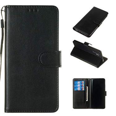 Capa carteira para LG Q7 de couro PU flip flip carteira carteira carteira carteira carteira carteira carteira para cartão de identificação fecho magnético capa à prova de choque para LG Q7 – Preto