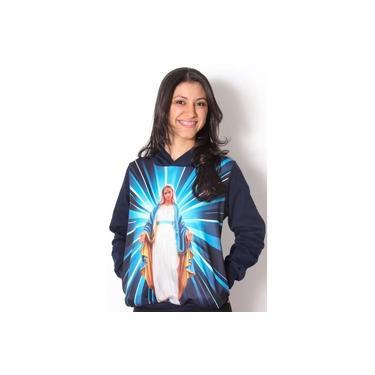 Blusa De Frio Feminina Nossa Senhora Das Graças Estampado Flanelado Touca